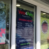 vets 4 pets opening times window graphics
