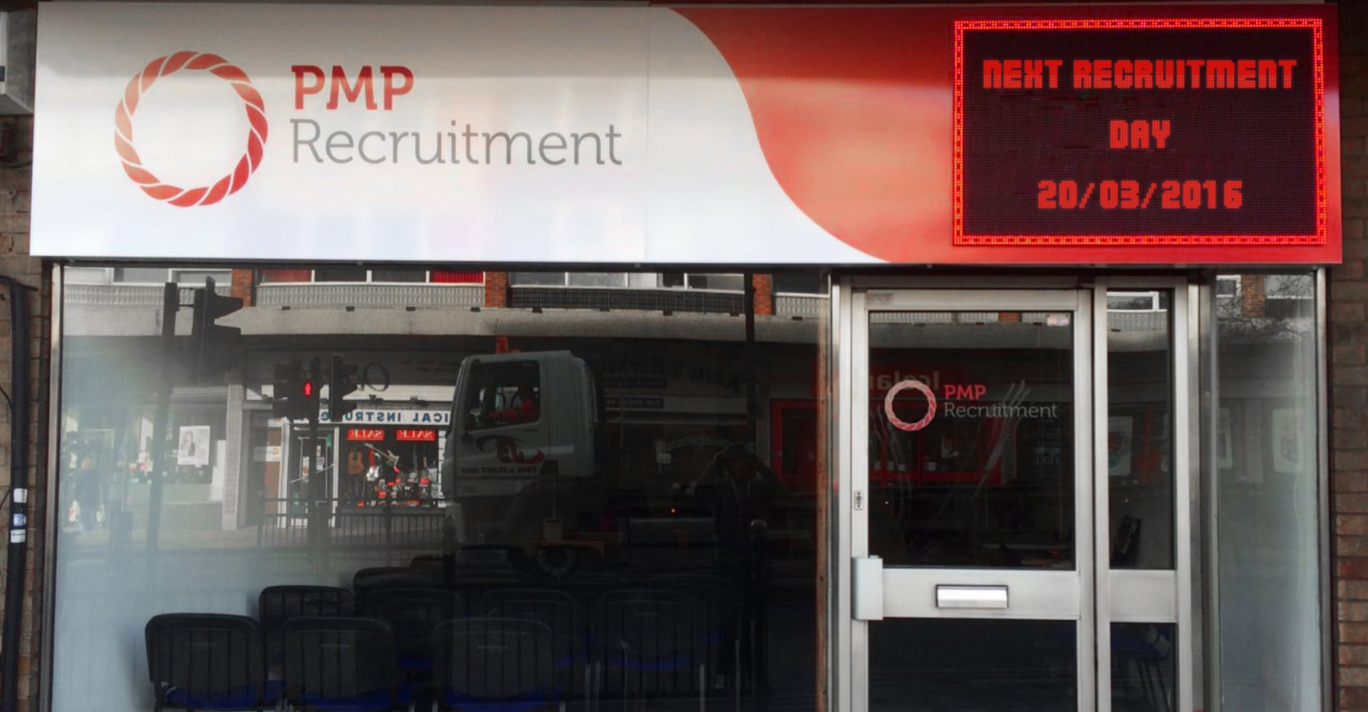 LED and corporate signage for PMP Recruitment in Bedford and
