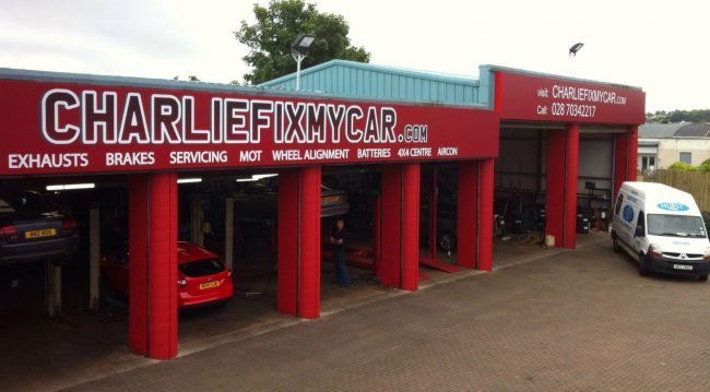 Creating Corporate Signage For Charlie Fix My Car Coleraine